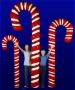Giant Candy Cane w/Base - Fiberglass