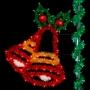 6' Sparkling Joyful Double Bells w/Holly Leaves - Pole Mount