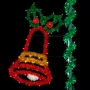 6' Sparkling Joyful Bell w/Holly Leaves - Pole Mount