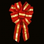 """16"""" Wired Exterior Puff - Red Velvet w/Gold Stripe Bow - 9 Loops"""
